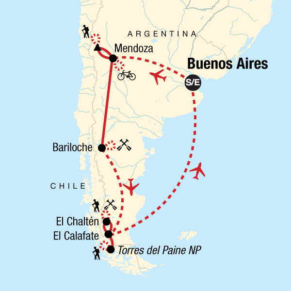 Map of the route for Argentina & Chile Multisport