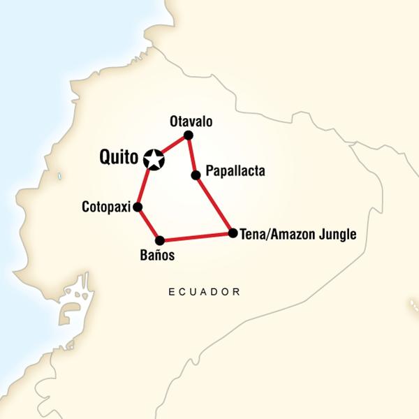 Ecuador amazon hot springs volcanoes in ecuador south america map of the route for ecuador amazon hot springs volcanoes ccuart Gallery