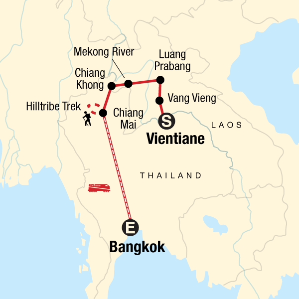 Map of the route for Laos to Northern Thailand: Treks & Trails
