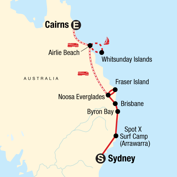 Map of the route for Most of the Coast: Sydney to Cairns
