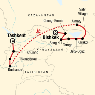 Map of Best of Kyrgyzstan and Tajikistan