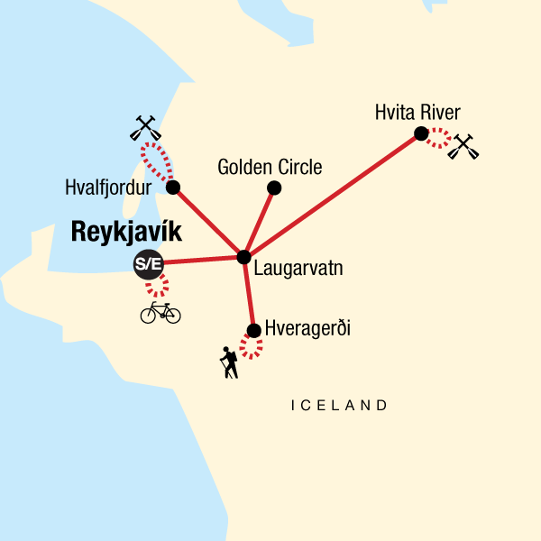 Map of the route for Iceland Hike, Bike & Raft