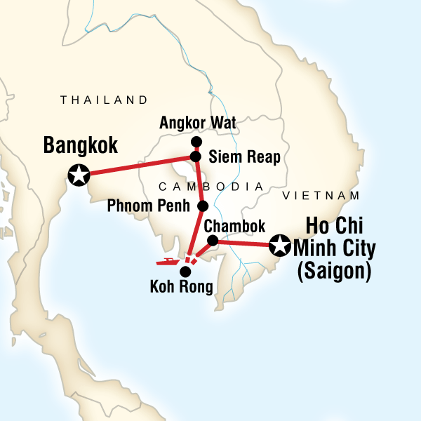 Map of the route for Cambodia: Ancient Ruins & Boat Rides