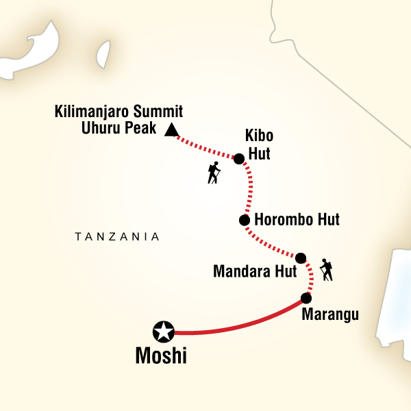 Map of the route for Mt Kilimanjaro Trek - Marangu Route