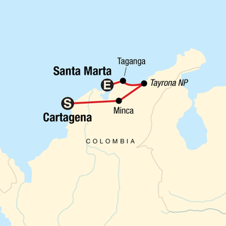 Map of Caribbean Colombia Express
