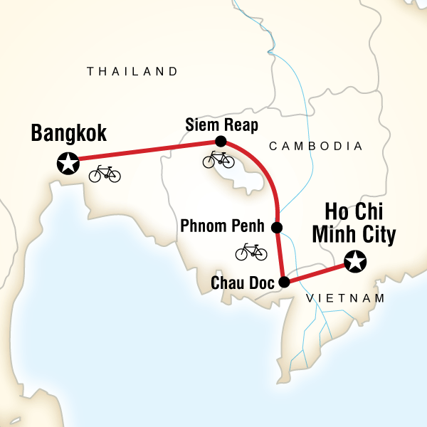 Map of the route for Indochina Cycle
