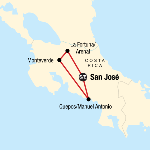 Map of the route for Costa Rica Highlights Independent Adventure