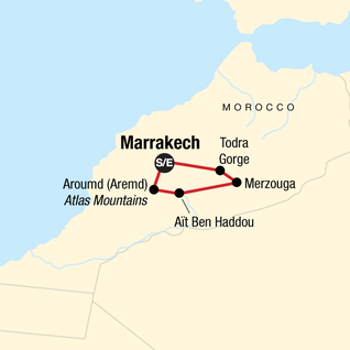Map of Moroccan Desert Adventure: River Canyons & Camels