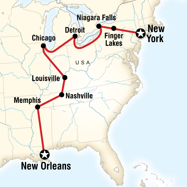 New Orleans In Usa Map.New York To New Orleans Road Trip In United States North America