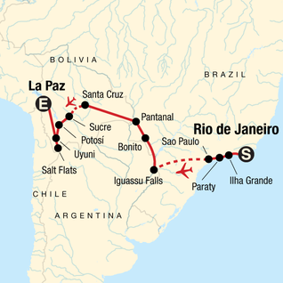 Map of Atlantic to the Andes Experience