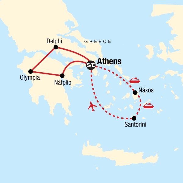Map of the route for Greece: Ancient Ruins & Iconic Islands