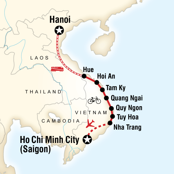 Map of the route for Cycle Vietnam's Backroads