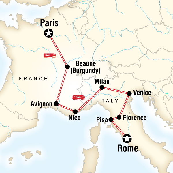Italy And France Map.France Italy Adventure In France Europe G Adventures