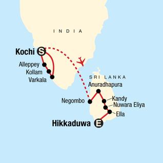 Map of Discover Kerala & Sri Lanka: Islands & Ruins