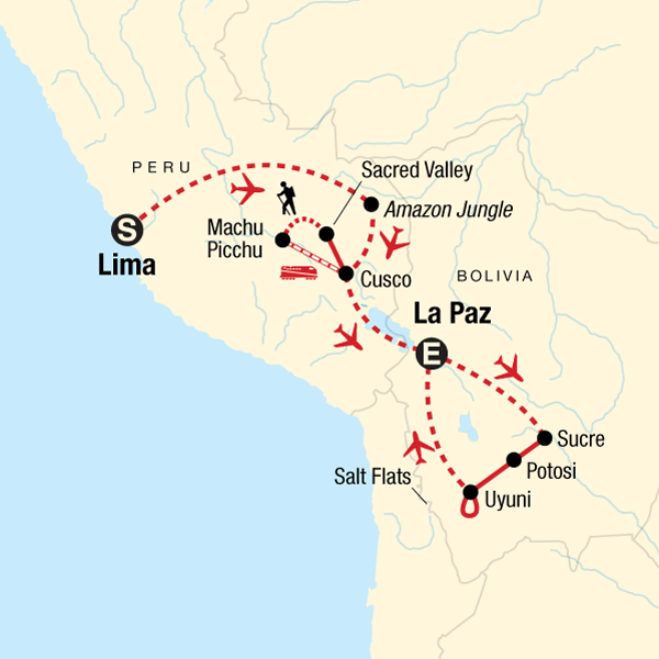 Map of the route for Peru and Bolivia: Machu Picchu to the Salt Flats