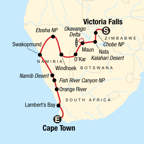 Map of the route for Dunes, Deltas & Falls Discoverer