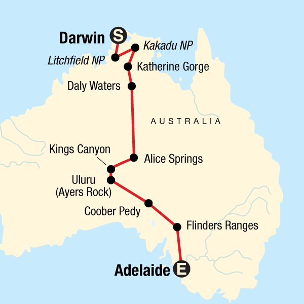 Adelaide Map Of Australia.Australia North To South Darwin To Adelaide In Australia