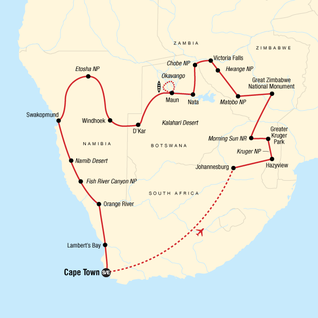 Map of Highlights of Southern Africa
