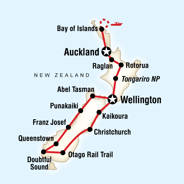 Map of the route for New Zealand Encompassed