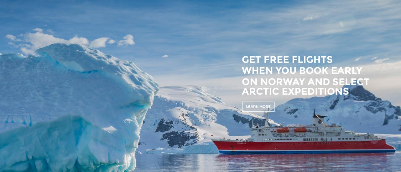 Get free flights when you book early on Norway and select Arctic expeditions