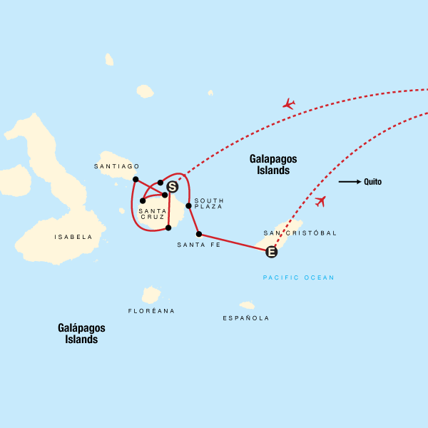 Map of the route for Galápagos — Central Islands aboard the Xavier III
