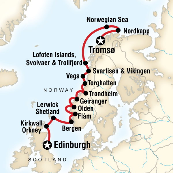 Map of the route for Scottish Islands & Norwegian Fjords - Edinburgh to Tromsø