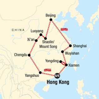 Map of China: Cafés & Karst Mountains