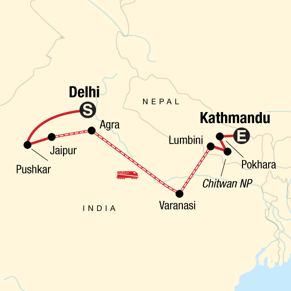 Map of the route for Delhi to Kathmandu: Mountain Scenes & the Ganges