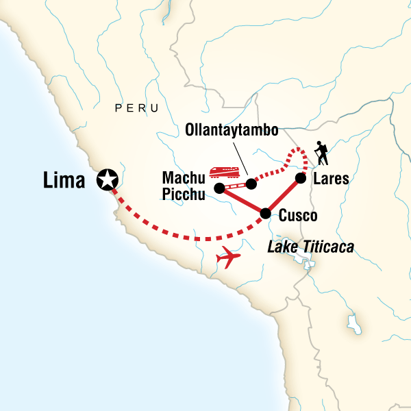 Map of the route for Inca Discovery—Lares