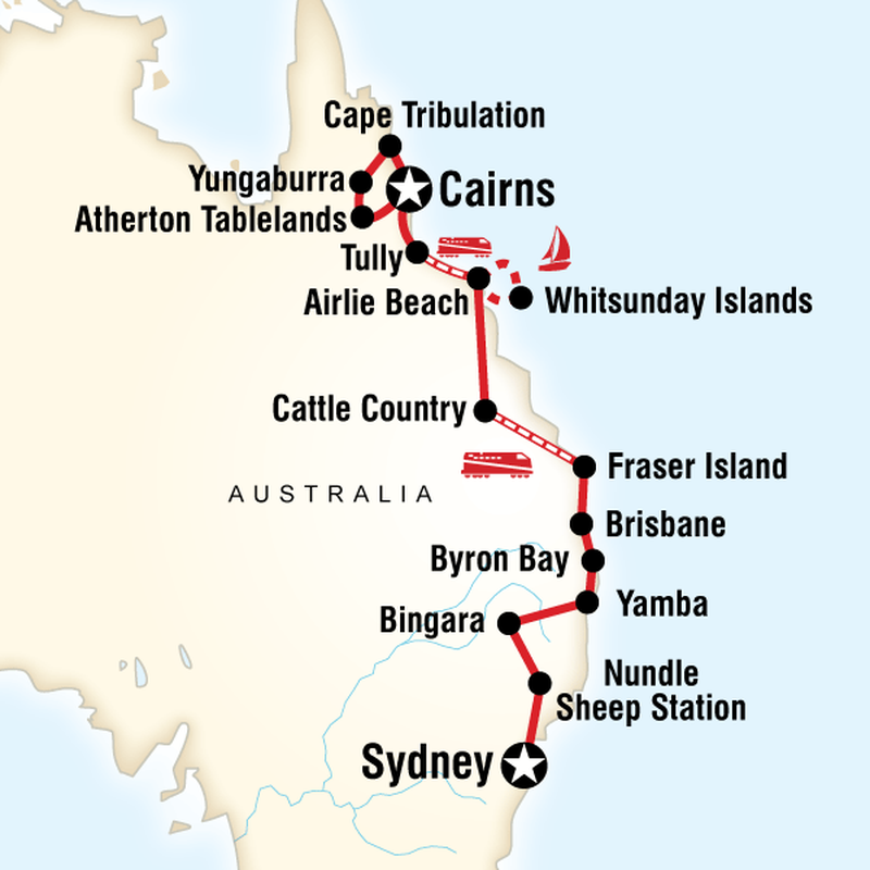 Tours of Australia – East Coast of Australia Map