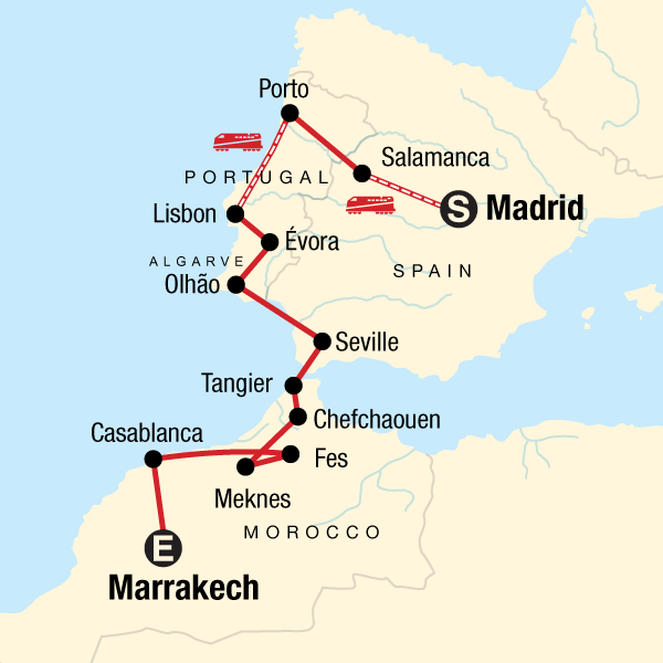 Map Of Portugal And Spain.Spain Portugal And Morocco Adventure In Morocco Europe G Adventures