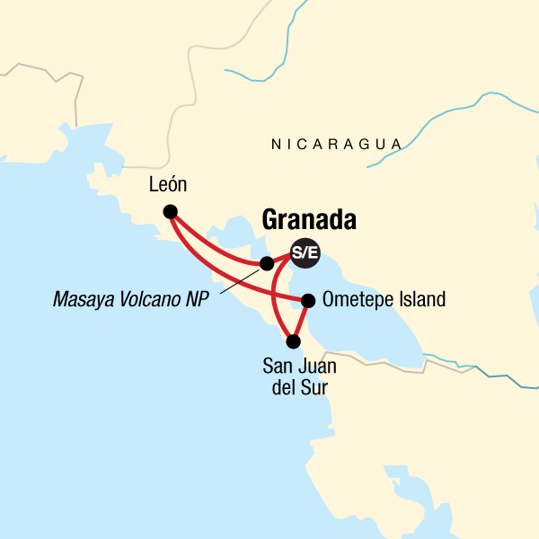 Map of the route for Essence of Nicaragua