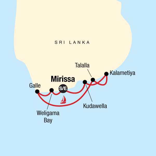 Map of the route for Sailing Sri Lanka - South Coast