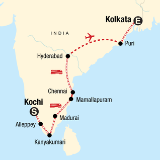 Map of Southern India & East Coast by Rail