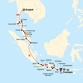 Map of Bangkok to Bali Adventure: Street Eats & Beaches