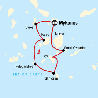 Map of Sailing Greece - Mykonos to Mykonos
