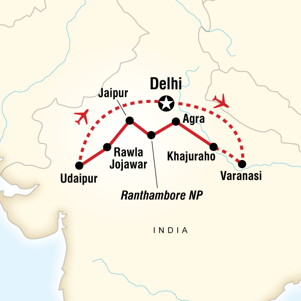 Map of the route for India Explorer