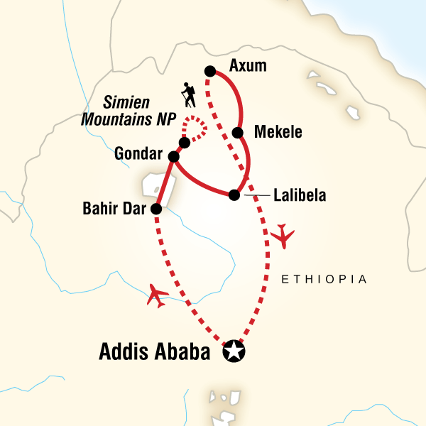 Map Of The Route For Highlights Ethiopia