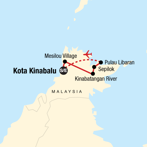 Map of the route for Borneo – East Sabah Adventure