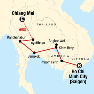 Map of Best of Cambodia & Northern Thailand