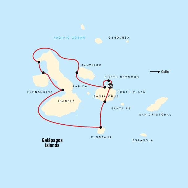 Map of the route for Galápagos – West and Central Islands aboard the Reina Silvia Voyager (Cruise Only)