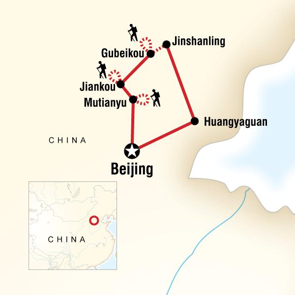 Great Wall Of China On China Map.Walk The Great Wall Of China In China Asia G Adventures