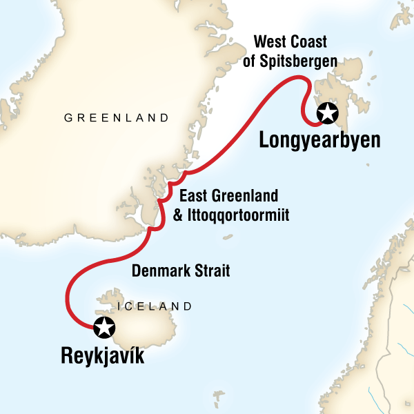 Map of the route for Arctic Highlights