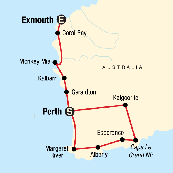 Map of the route for Western Australia Adventure