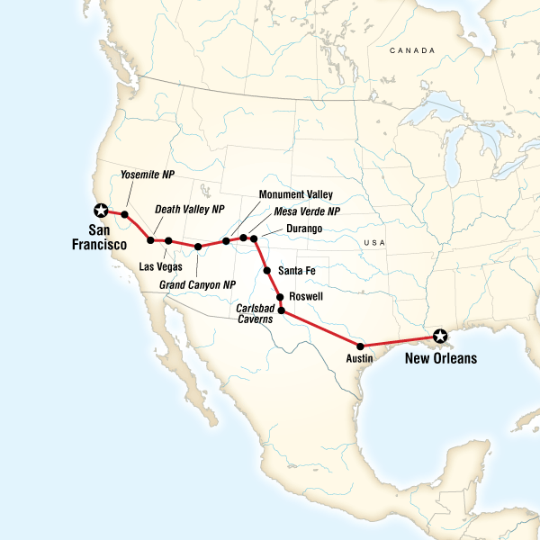 San Francisco To New Orleans Road Trip In United States North - Map usa new orleans