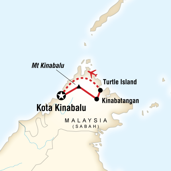Map of the route for Borneo – Sabah Adventure