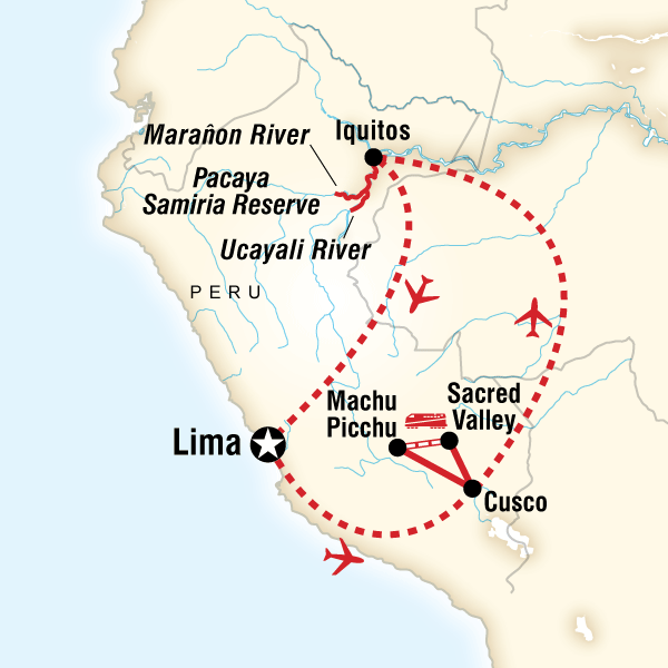Map of the route for Amazon Riverboat & Machu Picchu Adventure