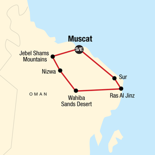 Map of Highlights of Oman