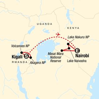 Map of Legendary Wildlife of Rwanda & Kenya