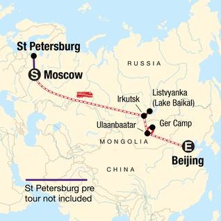 Map of Trans-Mongolian Adventure